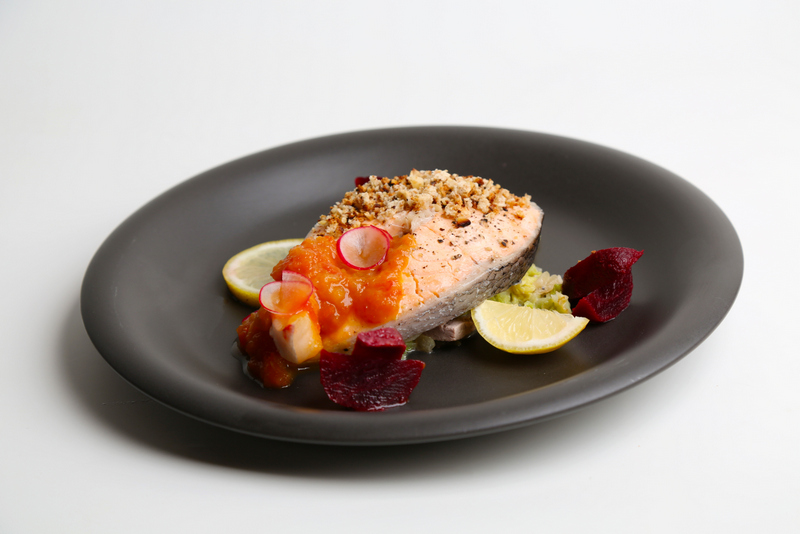 3. Steamed Salmon encrusted with flaxseed and walnut, served with  beetroot-tomato jam and saute kale in soya milk