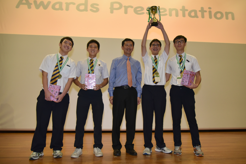Image 8 - Cat C champions ACTeam Aaron from Anglo-Chinese School (Independent), posing with Minister at the Awards Presentation Ceremony